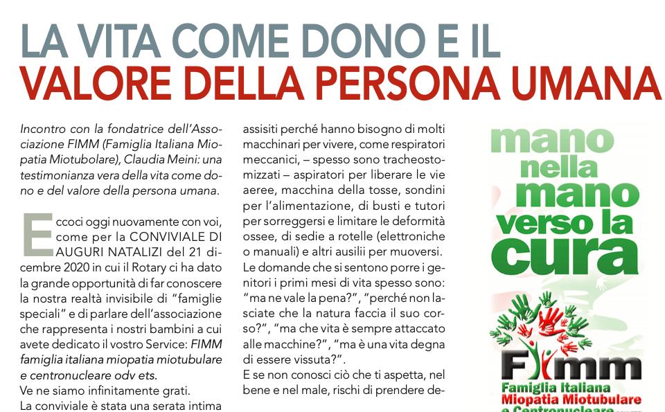 La vita come dono e il valore della persona umana – dal mensile del Rotary Club Firenze